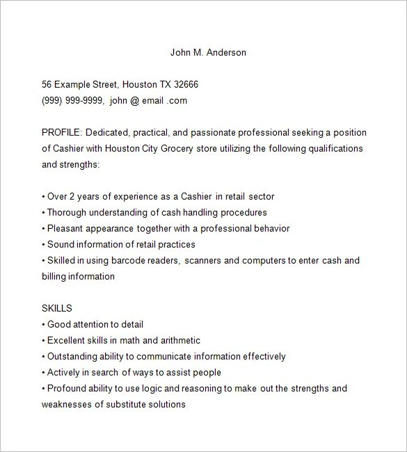Cashier Resume Template \u2013 16+ Free Samples, Examples, Format