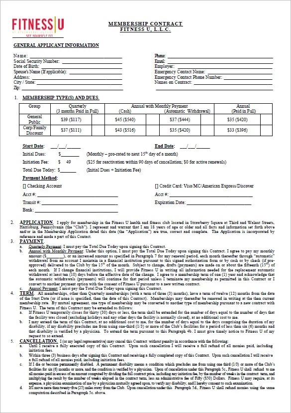 Gym Contract Template u2013 13+ Free Word, PDF Documents Download - yearly contract template