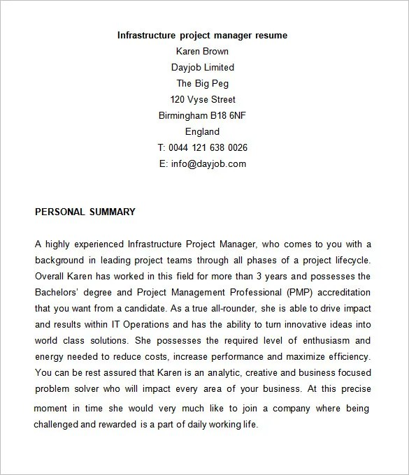 9+Project Manager Resume Templates - DOC, PDF Free  Premium Templates