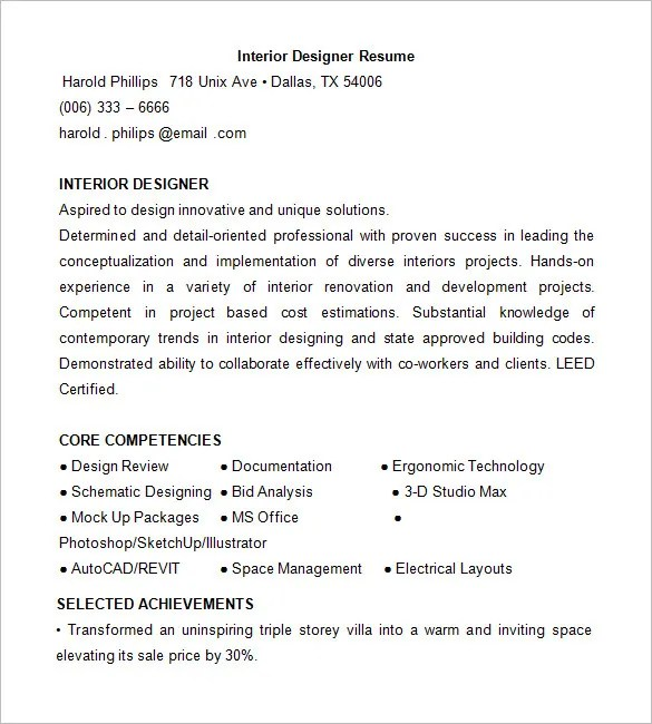 interior designer resume format download - Doritmercatodos - interior designer resume