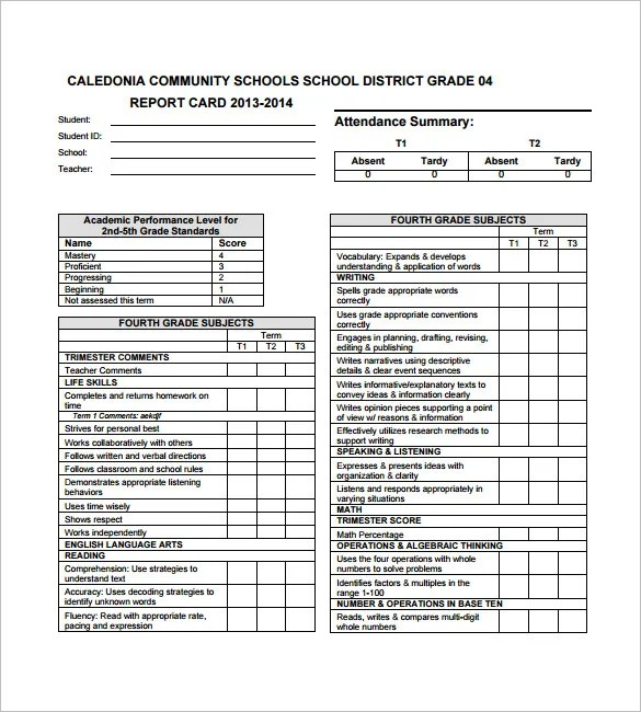 Progress Report Card Templates - 21+Free Printable Word, PDF, PSD