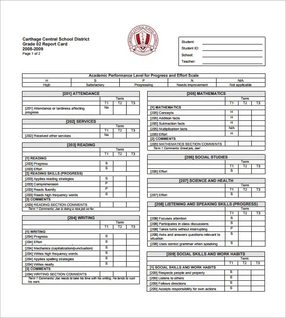 printable report card templates - Klisethegreaterchurch - report card template