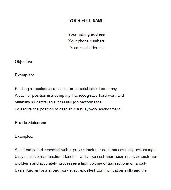 sample resume for any kind of job