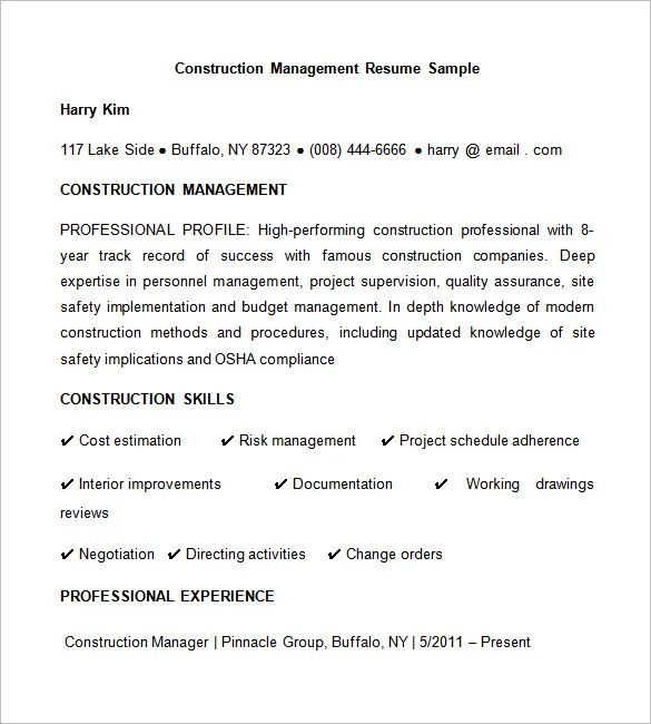 free resume template for construction worker