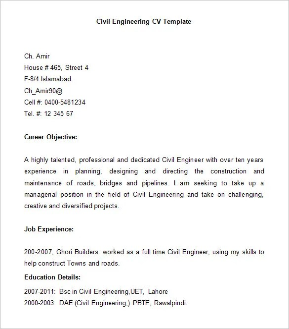 career objective of a civil engineer