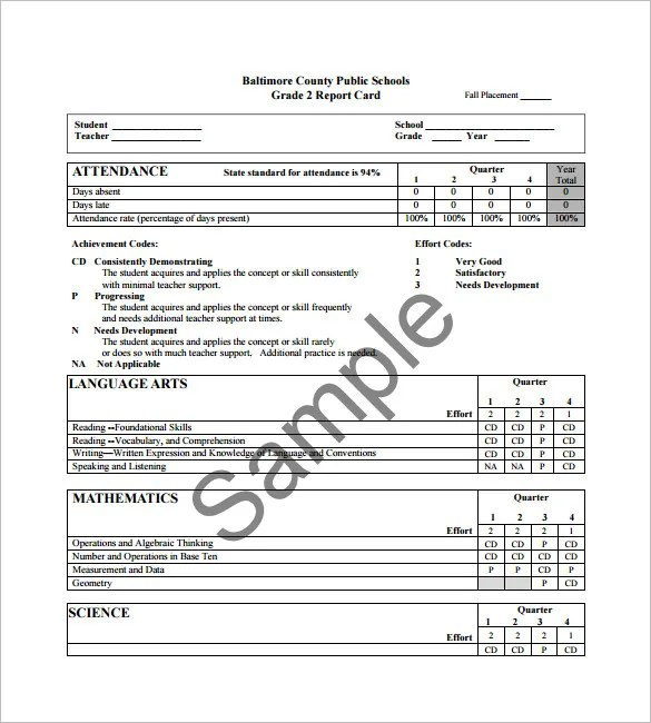 Progress Report Card Templates - 21+Free Printable Word, PDF, PSD - high school progress report template