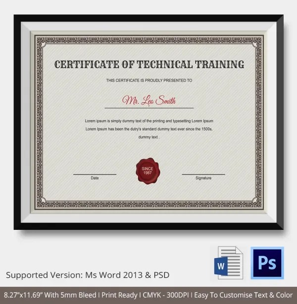 Training Certificate Template - 14+ Free Word, PDF, PSD Format - certificate of participation free template
