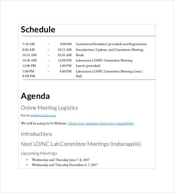 Simple Agenda Template - 19+ Examples in PDF , Word Free  Premium