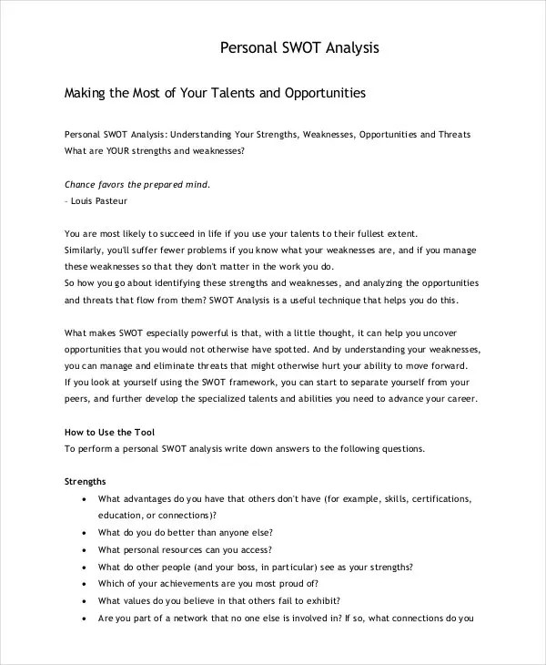 Personal SWOT Analysis Template - 18+ Examples in PDF, Word Free - analysis paper template
