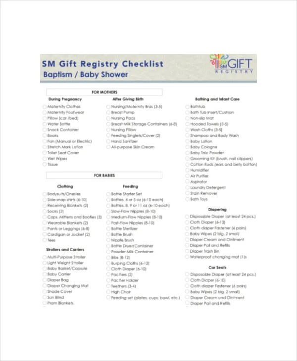 Baby Shower Registry Checklist - 4+ Free Excel, PDF Documents - sample baby shower checklist
