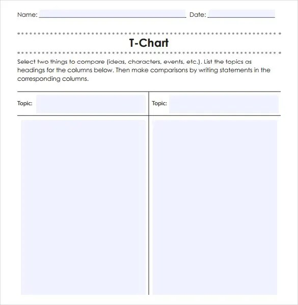 T Chart Template T Chart Sample Template Free Download T Chart - blank comparison chart template