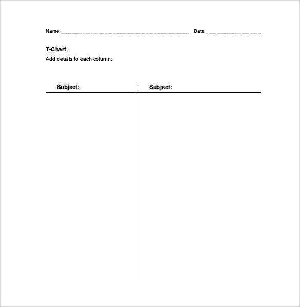 T Chart Template - 17+ Examples in PDF, Word, Excel Free  Premium - t chart template