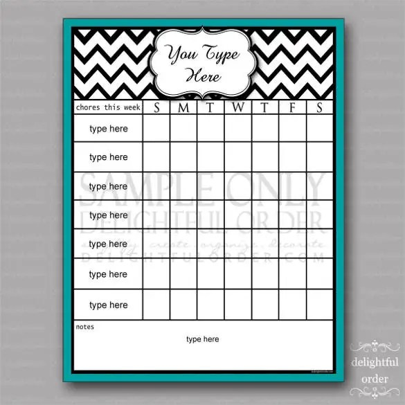 30+ Weekly Chore Chart Templates - DOC, Excel Free  Premium Templates