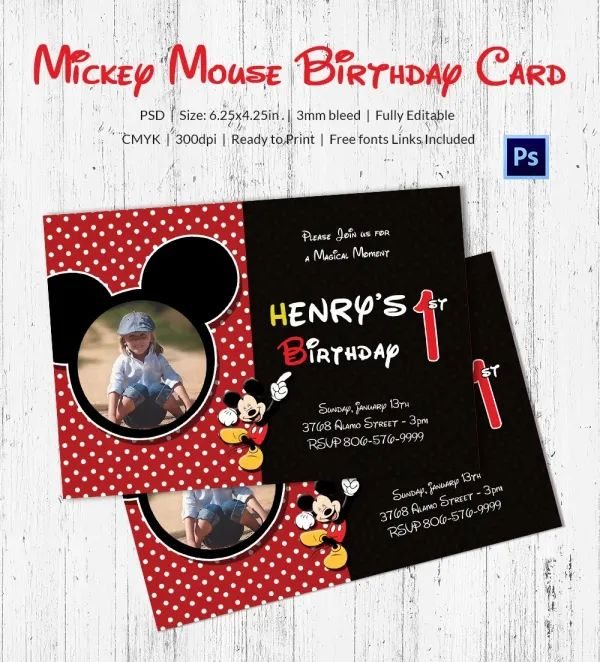 1st birthday card template