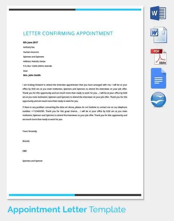 Format Of Joining Letter Citehr 33 Appointment Letter Templates Free Sample Example
