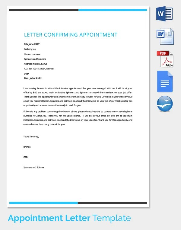 Letter Of Confirmation Sample Letter Of Confirmation 25 Appointment Letter Templates Free Sample Example