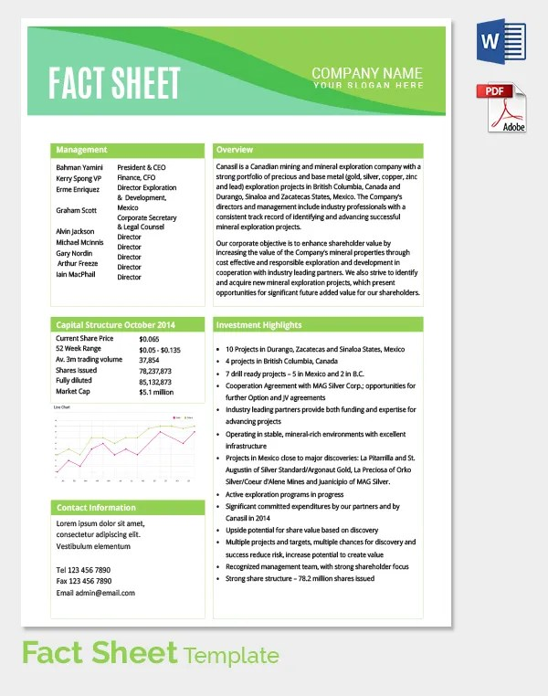 Fact Sheet Template - 31+ Free Word, PDF Documents Download - information sheet template word