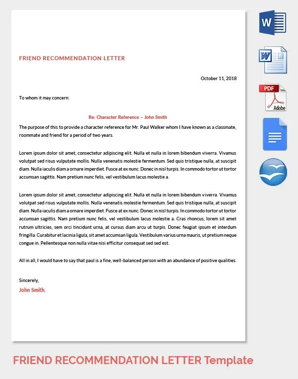 23+ Friend Recommendation Letters - PDF, DOC Free  Premium Templates