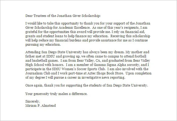 Scholarship Thank You Letter \u2013 8+ Free Word, Excel, PDF Format