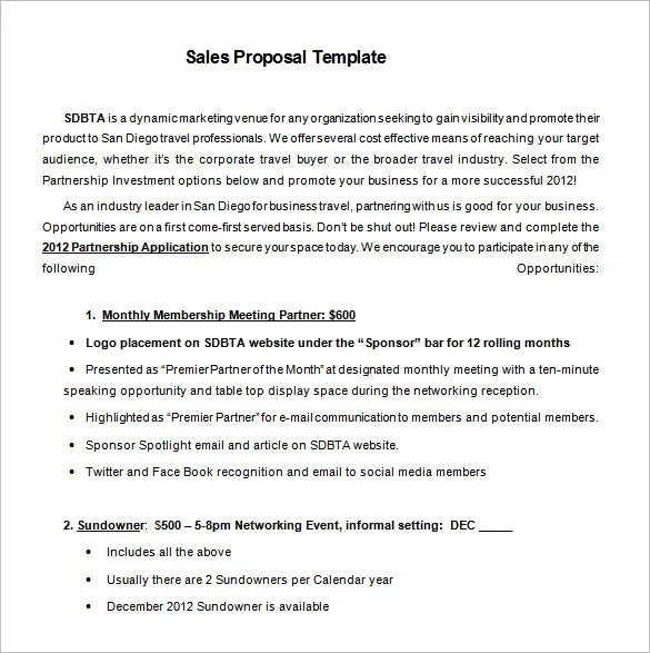 Sales Proposal Template u2013 10+ Free Sample, Example, Format - informal proposal template