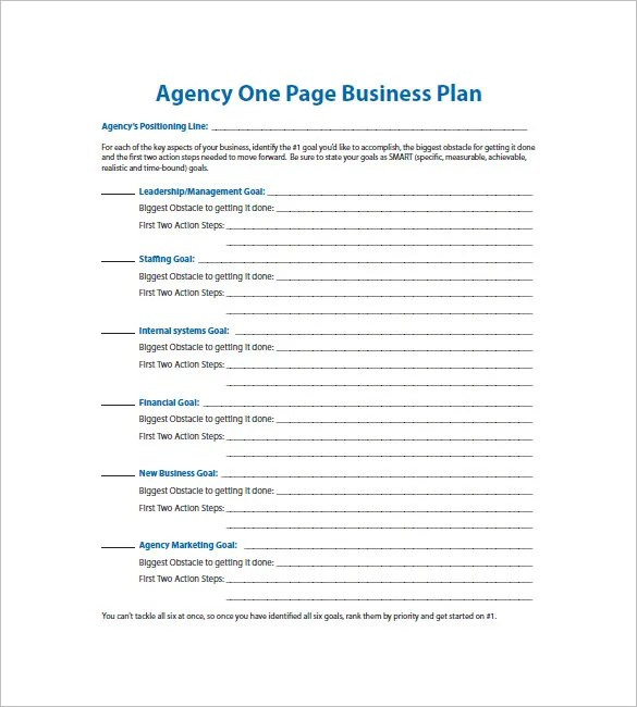 One Page Business Plan Template \u2013 11+ Free Word, Excel,PDF Format