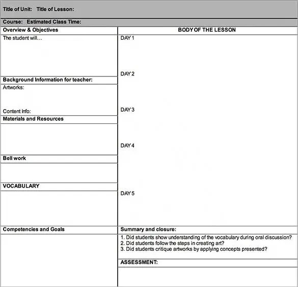 Lesson Plan Outline Template \u2013 12+ Free Sample, Example, Format - lesson plan formats