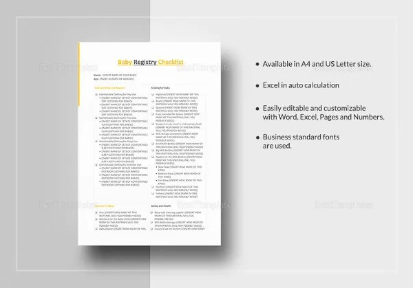 Baby Registry Checklist Template - 13+ Free Word, Excel, PDF