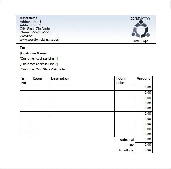 Hotel Receipt Template u2013 12+ Free Word, Excel, PDF Format Download - bills template free