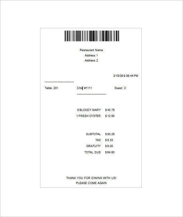 itemized receipt example