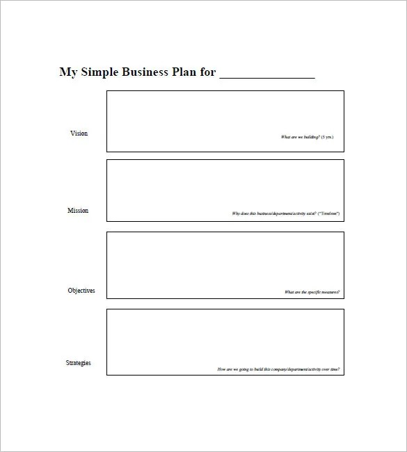 Simple Business Plan Template \u2013 20+ Free Sample, Example Format - Business Plans Template