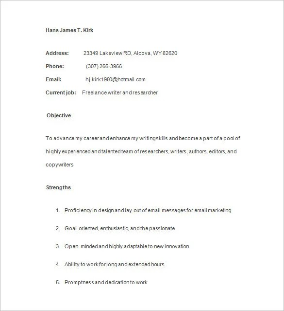 23+ Writer Resume Templates - DOC, PDF Free  Premium Templates - freelance writer resume sample