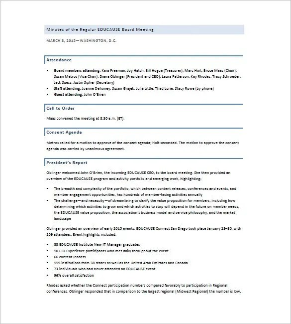 Board of Directors Meeting Minutes Template - 12+ Example Word