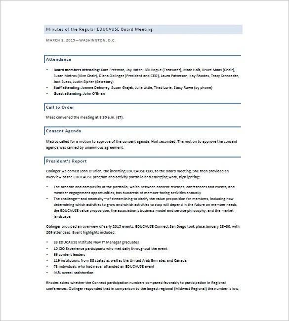 Board of Directors Meeting Minutes Template u2013 8+ Free Sample - attendance report template