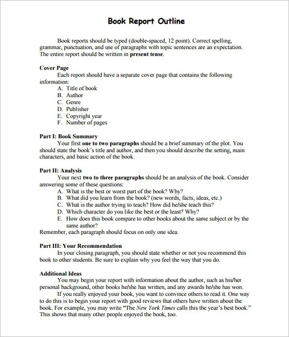 Report Outline Template - 9+ Free Free Word, PDF Format Download - 5th grade book report template