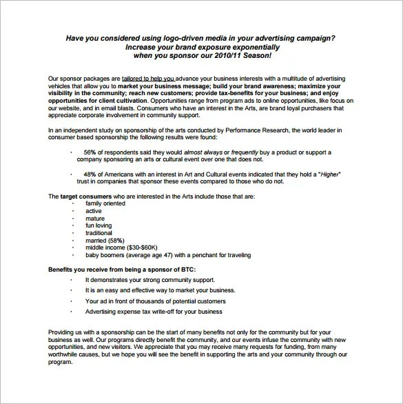 Sponsorship Proposal Template - 16+ Free Word, Excel, PDF Format