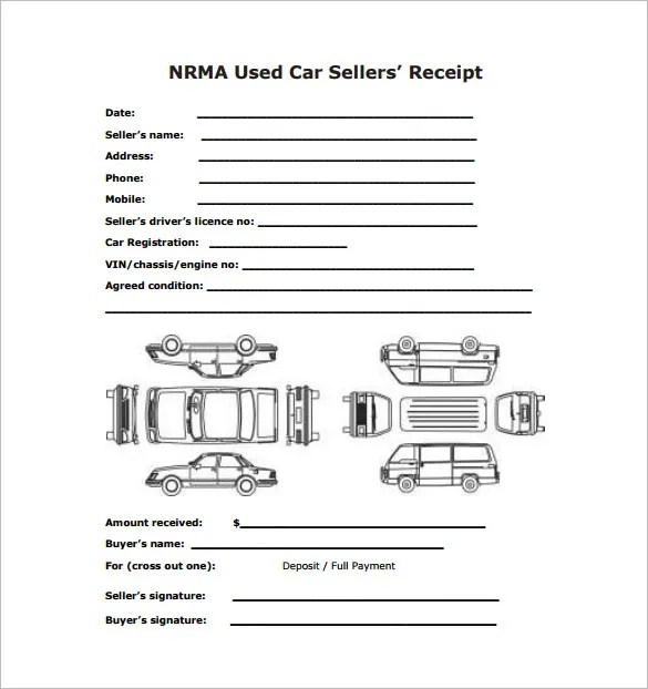 vehicle sales receipt form - Canasbergdorfbib