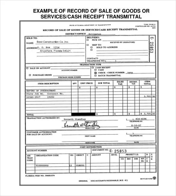 Sales Receipt Template - 27+ Free Word, Excel, PDF Format Free - how to write a cash receipt