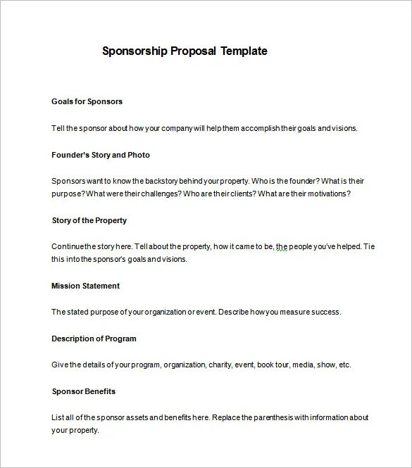 Sponsorship Letter Template Free Sample Letters Sponsorship Proposal Template – 10 Free Sample Example