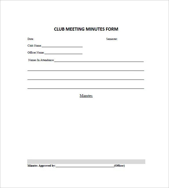 13+ Club Meeting Minutes Templates - DOC, Excel, PDF Free