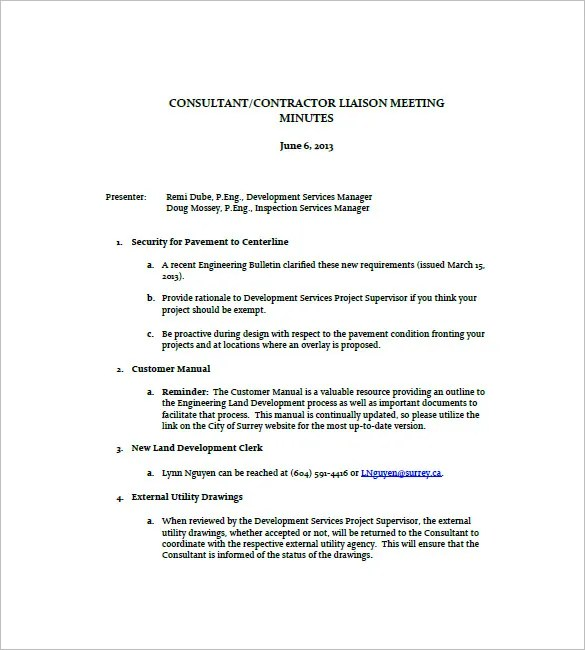 Construction Meeting Minutes Templates \u2013 10+ Free Sample, Example - standard meeting minutes format