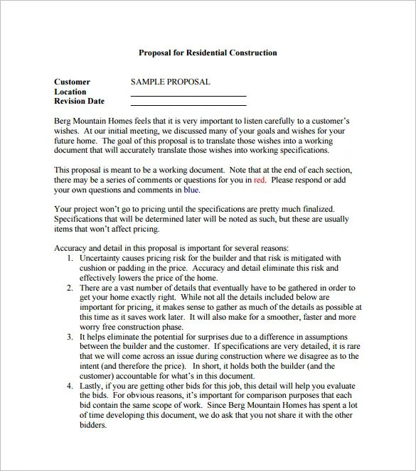 Construction Proposal Templates - 17+ Free Word, PDF Format Download