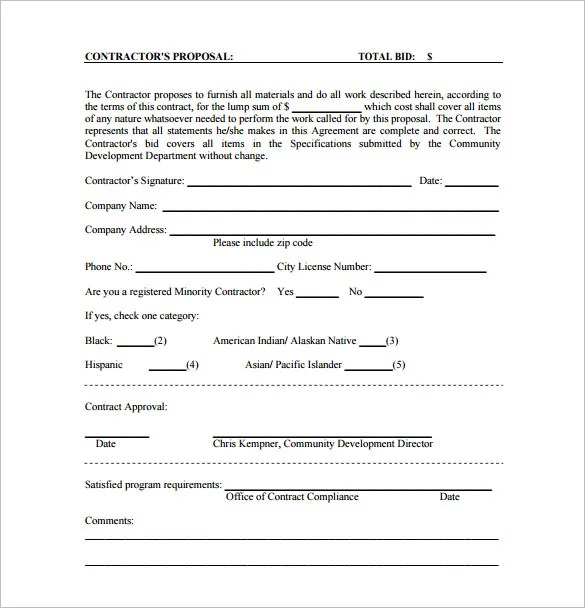 bid form sample - Goalblockety