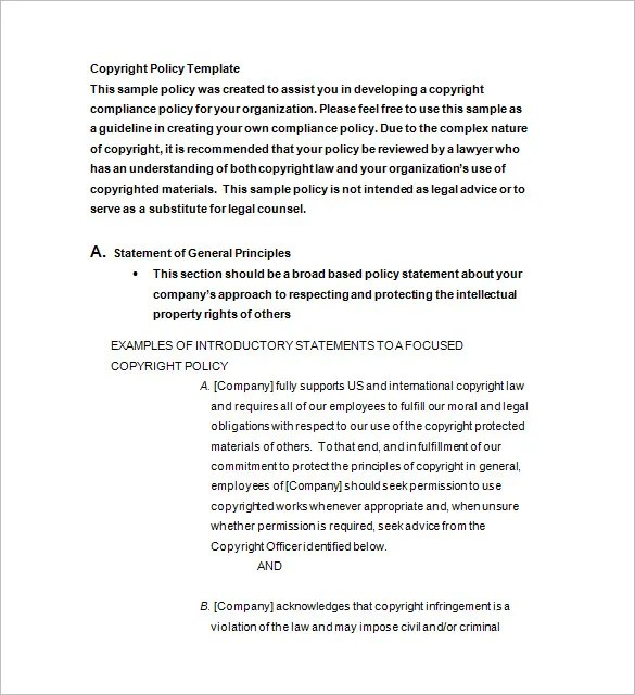 Copyright Notice Template \u2013 10+ Free Word, Excel, PDF, Format - copyright notice template