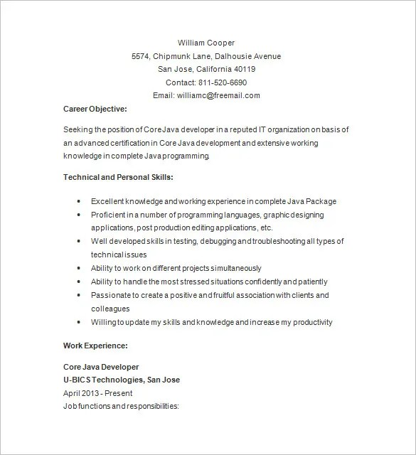 Java Developer Resume Template \u2013 14+ Free Samples, Examples, Format - java developer resumes