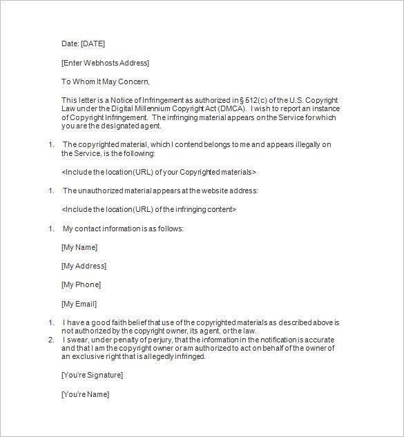 12+ DMCA Notice Templates - DOC Free  Premium Templates