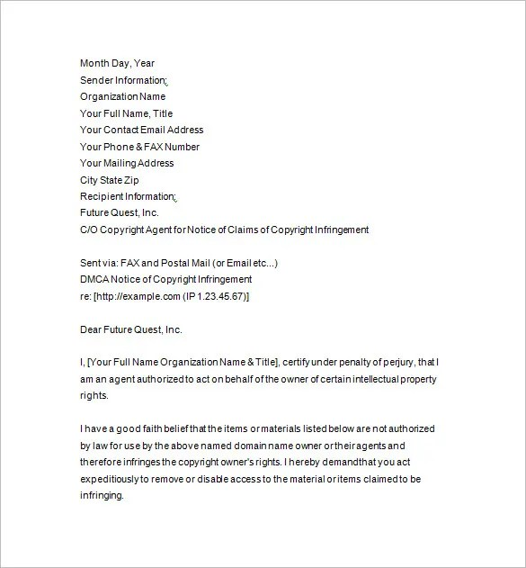 DMCA Notice \u2013 15+ Free Samples, Examples, Format Download! Free - good faith letter sample