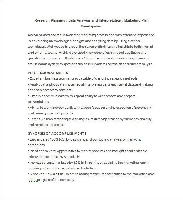 Marketing Analyst Resume Template \u2013 16+ Free Samples, Examples - marketing researcher sample resume