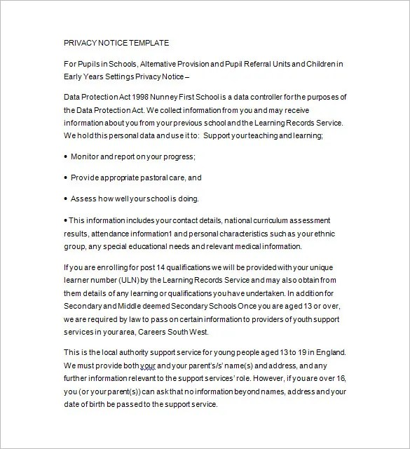 Privacy Notice Template \u2013 10+ Free Word, Excel, PDF, Format Download - privacy notice template