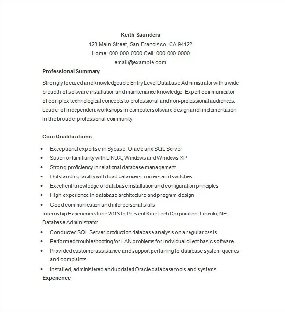 Database Administrator Resume Template - 15+ Free Samples, Examples - Database Administrator Resume