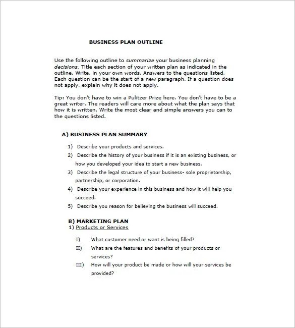 Business Plan Outline Template \u2013 8+ Free Word, Excel, PDF Format